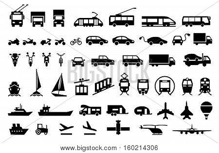 Large transport icons set. flat symbols vector illustration