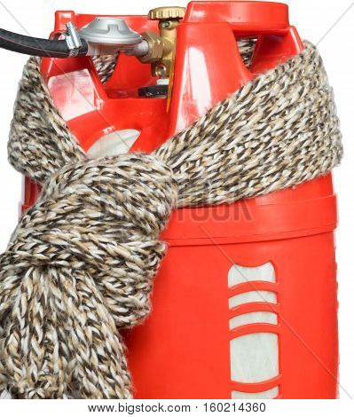 scarf tied on a red gas tank