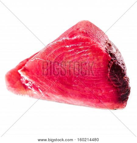 Tuna fillet isolated white background close up. Seafood concept