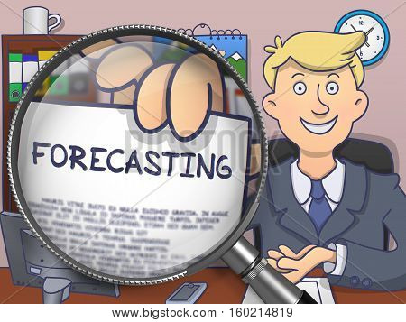 Forecasting. Man Holds Out a Paper with Concept through Lens. Colored Doodle Style Illustration.