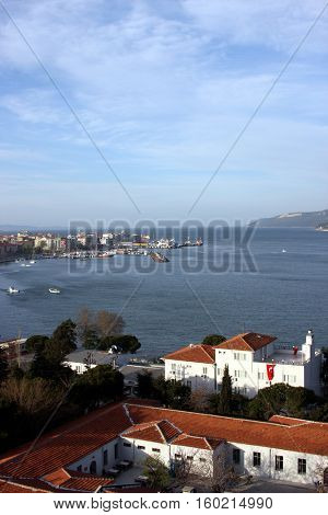 Canakkale City and Dardanelles in Gallipoli, Turkey.