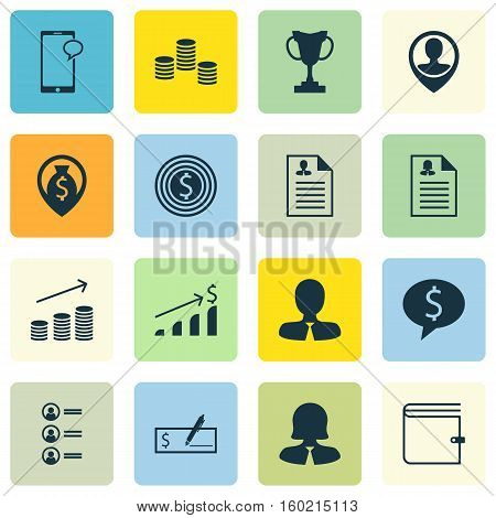 Set Of 16 Management Icons. Can Be Used For Web, Mobile, UI And Infographic Design. Includes Elements Such As Female, Cash, Stacked And More.