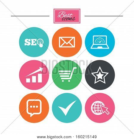 Internet, seo icons. Tick, online shopping and chart signs. Bandwidth, mobile device and chat symbols. Colorful flat buttons with icons. Vector