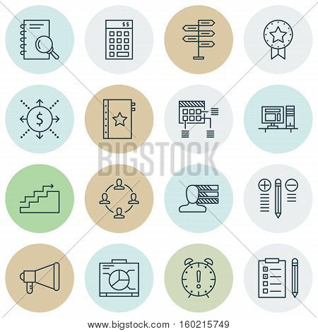Set Of 16 Project Management Icons. Can Be Used For Web, Mobile, UI And Infographic Design. Includes Elements Such As Schedule, Presentation, Research And More.