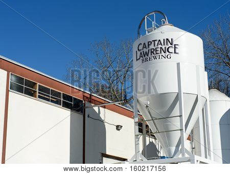 Exterior of the Captain Lawrence Brewing Company (444 Saw Mill River Road) in Elmsford, Westchester County, New York on November 19, 2016.