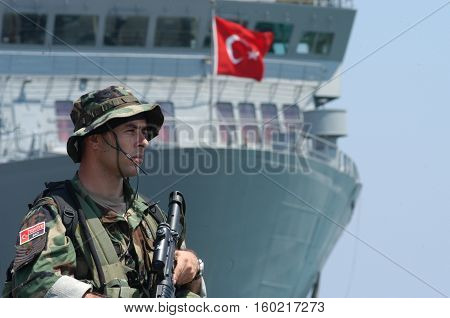 BEIRUT, LEBANON-OCTOBER 20:Turkish soldier on patrol on October 20, 2006 in Beirut, Lebanon