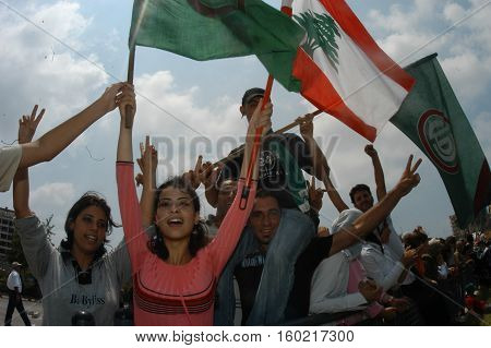 BEIRUT, LEBANON-JULY 30: Protest march in Beirut against Lebanon bombing by Israel July 30, 2006 in Beirut,Lebanon.