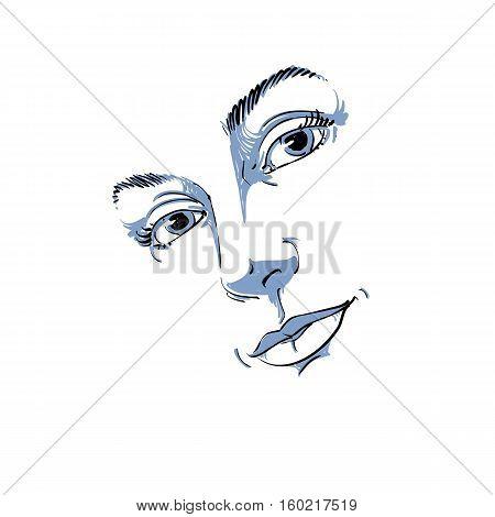 Hand-drawn Art Portrait Of White-skin Romantic Woman, Face Emotions Theme Illustration. Beautiful La