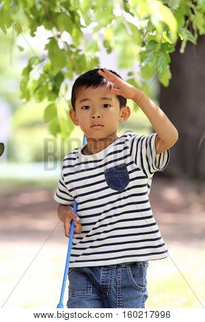 Japanese boy collecting insect (first grade at elementary school)
