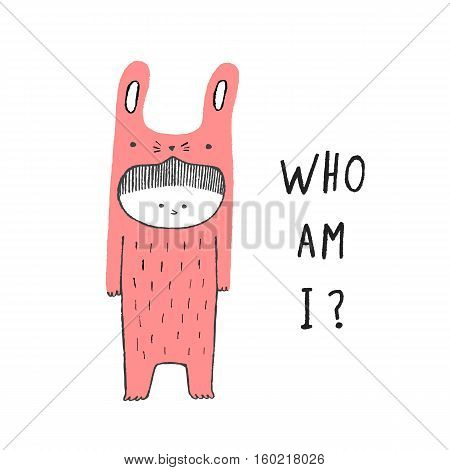 Who Am I Boy in a rabbit costume hand drawn vector illustration