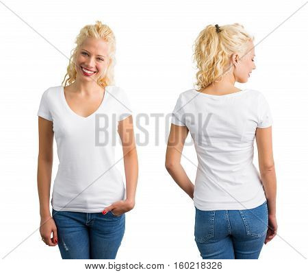 Woman in white V-neck T-shirt front and back view