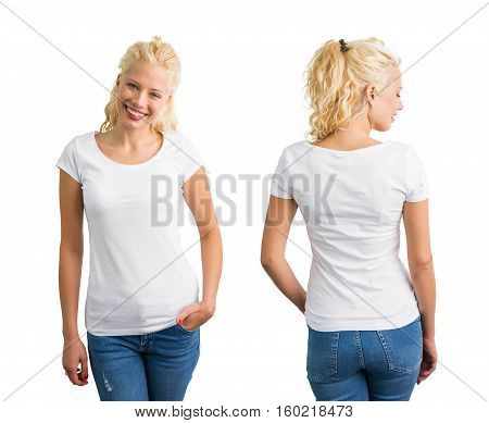 Woman in white round neck T-shirt front and back view