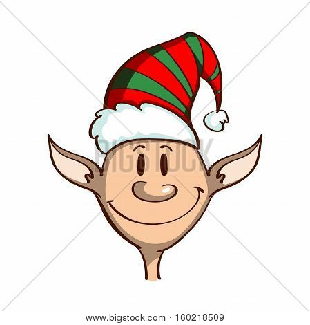 Cartoon smiling elf isolated on white background. Can be used for congratulation card, banner, flayer, leaflet, poster. Vector illustration