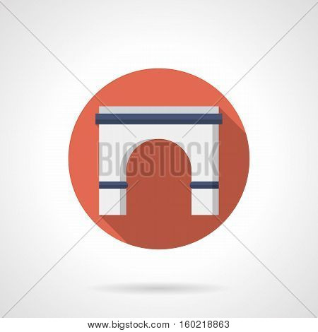Stone semicircular arch with long shadow. Classic arched building entrance, decorative facade element, gates and doorway. Red round flat color design vector icon.