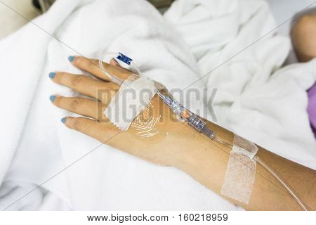 Sickness Of Hands With Intravenous To Patient's