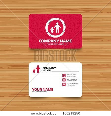 Business card template with texture. One-parent family with one child sign icon. Father with daughter symbol. Phone, web and location icons. Visiting card  Vector