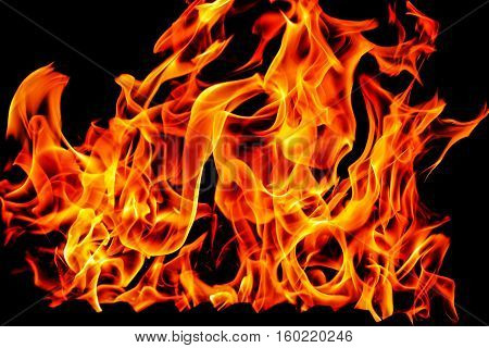 beautiful fire flames isolated on black background