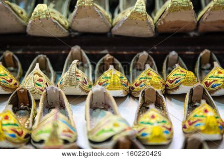 Curly toed sandals for sale in Deira Souk Dubai United Arab Emirates Middle East