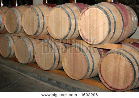 Barrels For Wine In A Wine Cellar 2.
