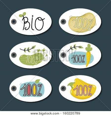 Eco and bio food round labels set isolated on blue background. Natural farm products price tags for organic foods shop, vegan cafe, restaurant, eco bar. Healthy eating concept. Eco friendly products. Organic food logo. Farm food icon.