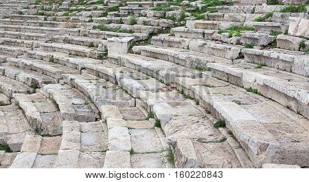 The ancient amphitheater destroyed from time .