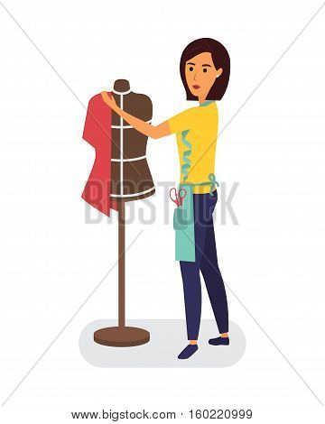 Tailor profession. Clothing designer woman with mannequin and sewing equipment. Sewing workshop class. Flat vector