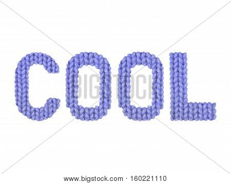 Cool word on a blurry texture knitted pattern of woolen thread closeup. English alphabet. Typography design. Color dark blue