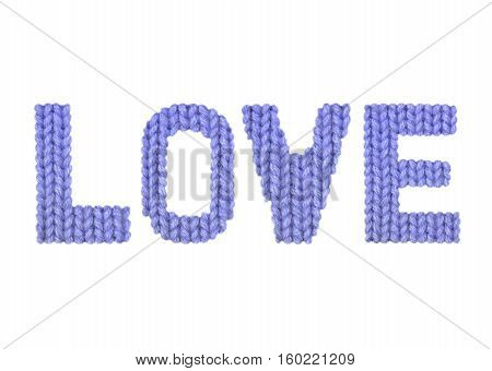 Love word on a blurry texture knitted pattern of woolen thread closeup. English alphabet. Typography design. Color dark blue
