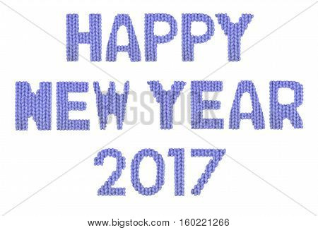 Happy new year 2017 word on a blurry texture knitted pattern of woolen thread closeup. English alphabet. Typography design. Color dark blue