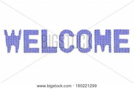Welcome word on a blurry texture knitted pattern of woolen thread closeup. English alphabet. Typography design. Color dark blue