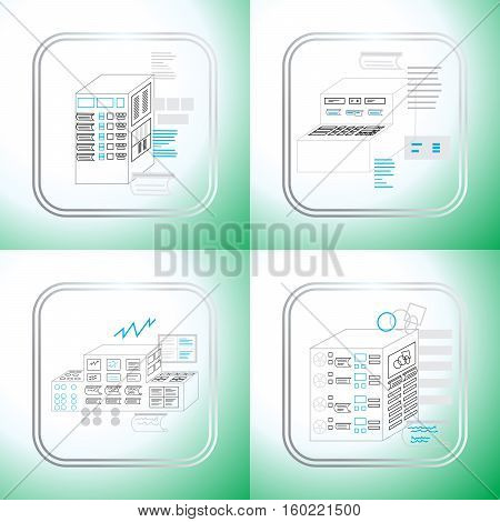 production control panel vector illustration for the production of the machine icon set