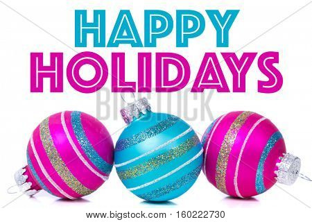 Christmas ornaments or baubles on white background with