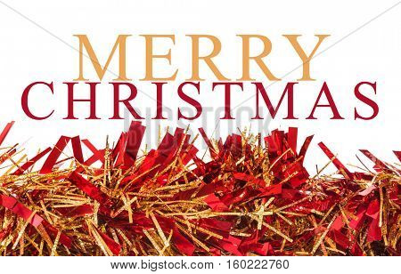 Christmas decoration or garland on white background with Merry Christmas message