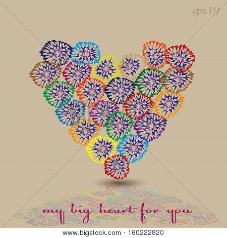 Heart of flower greeting Design abstraction author sketch holiday valentine colorful greeting handmade bouquet reflection text eps10 illustration stock vector