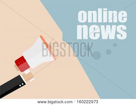 Flat Design Business Concept. Online News, Digital Marketing Business Man Holding Megaphone For Webs