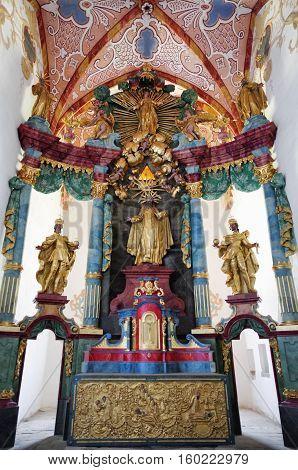 CERVENY KLASTOR SLOVAKIA - AUGUST 10: Interior of monastery Cerveny Klastor on August 10 2016 in Cerveny Klastor