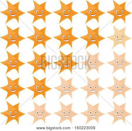 Smiling cartoon funny stars ranking.  Vector illustration.
