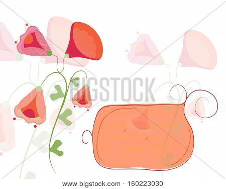 Banner with flowers on the white background.