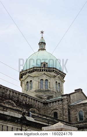 Dome of Manila Cathedral, close-up of  Roman Catholic basilica located at Plaza de Roma in the Intramuros district of the City of Manila, Philippines