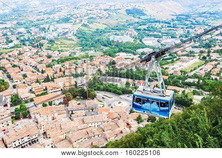 SAN MARINO SAN MARINO REPUBLIC - SEPTEMBER 5 2016: Funicular to the fortress of San Marino. The Republic of San Marino Italy