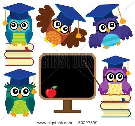 Stylized school owls theme set 1 - eps10 vector illustration.