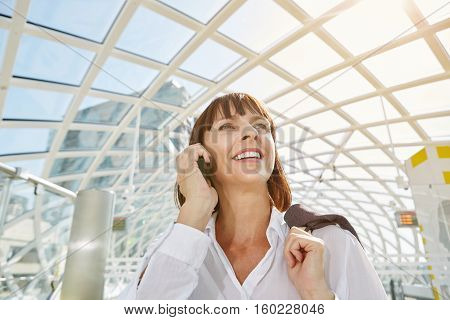 Smiling Business Woman On Cellphone