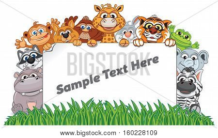 Animal Zoo Banner. Funny Animals with Empty Sign Ready for Your Text and Design.