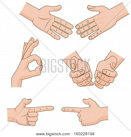Set of cartoon Hands Icons for business concepts. Vector illustration