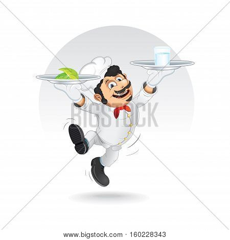Funny Chef Cook with Diet Food on Tray. Vector Image