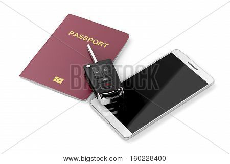 Smartphone passport and car key on white background, 3D illustration