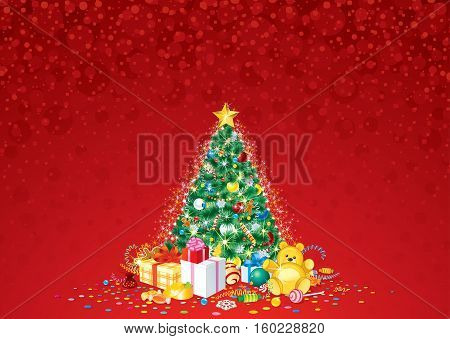 Decorated Christmas Tree Vector. Ready for Your Text and Design.