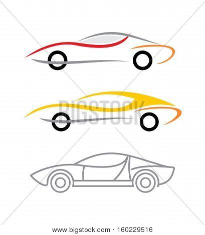 Three variants of modern car logo. Vector icons isolated on a white background.