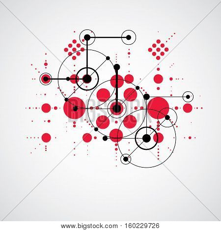 Bauhaus retro art vector background made using grid and circles. Geometric graphic 1960s red illustration can be used as booklet cover design.