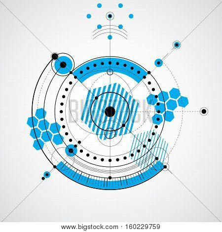 Technical blueprint vector digital background with geometric design elements circles. Illustration of engineering system blue abstract technological backdrop.